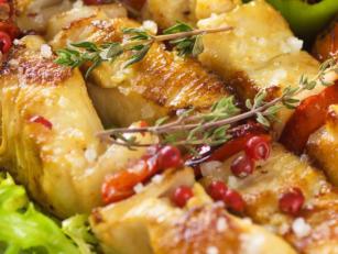 Куриные шашлычки гриль с овощами