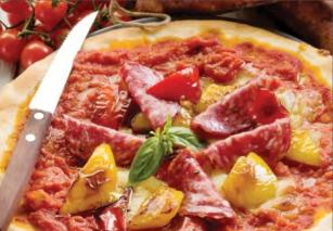 Пицца с перцем и салями